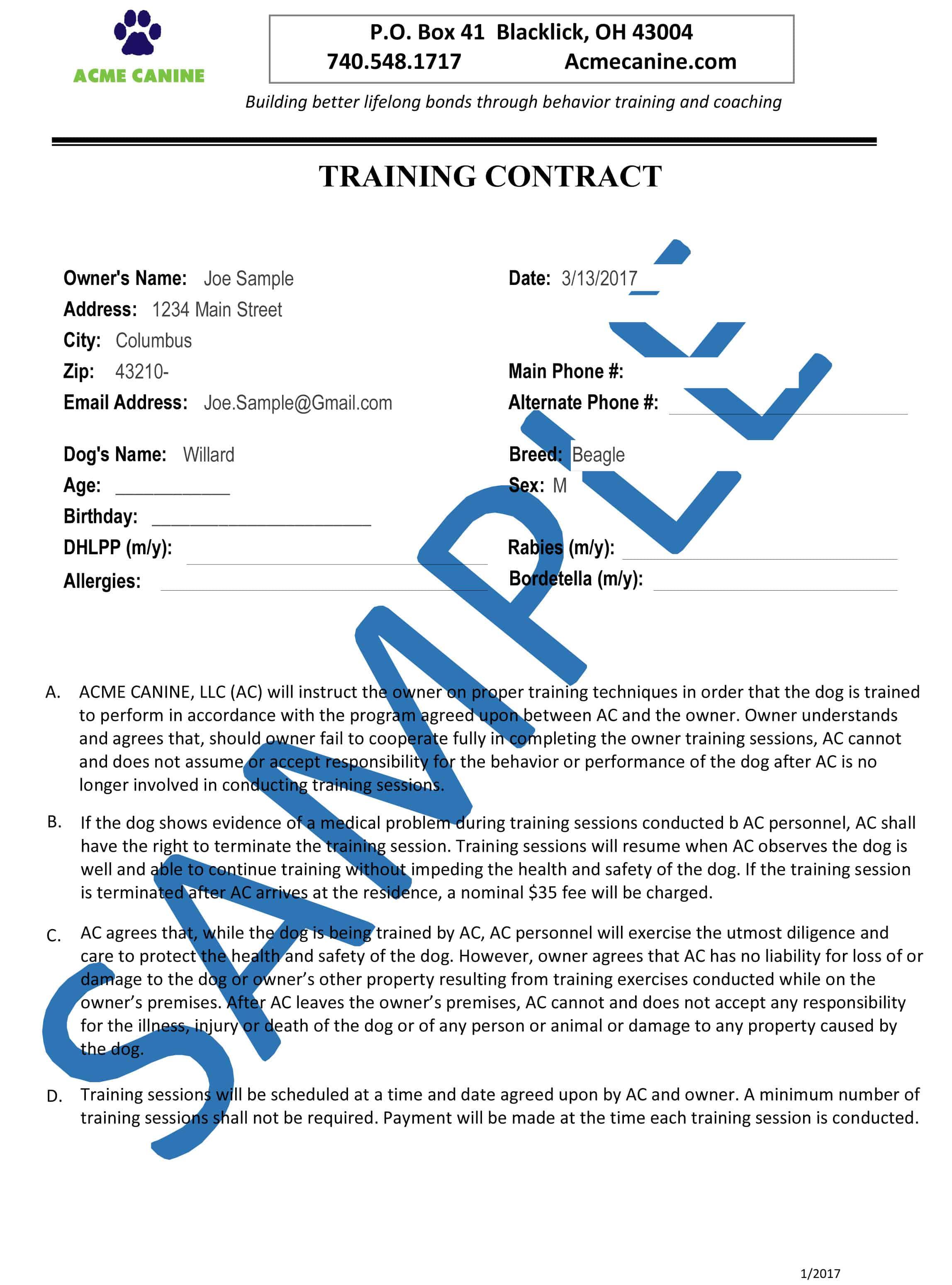 PoliciesAgreements Acme Canine – Training Agreement